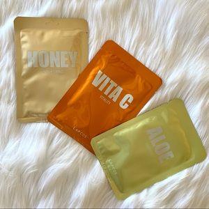 Set of 3 luxury facial masks—Vita C, Honey, Aloe